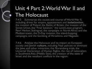 Unit  4 Part 2: World  War II and The Holocaust