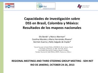 REGIONAL MEETINGS AND THIRD STEERING GROUP MEETING - SDH-NET RIO DE JANERIO, OCTOBER 24-26, 2013