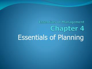 Essentials of Management Chapter  4