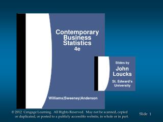 Contemporary Business Statistics 4e Williams|Sweeney|Anderson