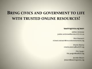 Bring civics and government to life  with trusted online resources!