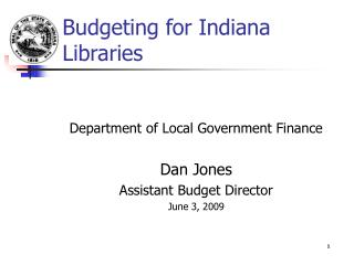 Budgeting for Indiana Libraries