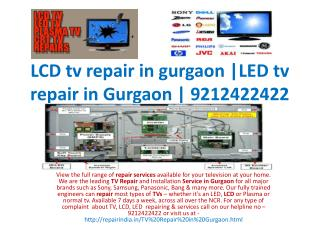 TV repair in gurgaon | LCD repair in Gurgaon |9212422422