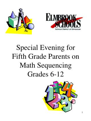 Special Evening for Fifth Grade Parents on Math Sequencing Grades 6-12