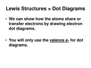 Lewis Structures = Dot Diagrams