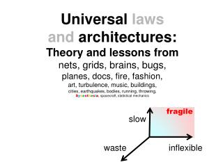 Universal  laws  and  architectures: Theory and lessons from nets, grids, brains, bugs,