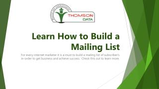Learn How to Build a Mailing List