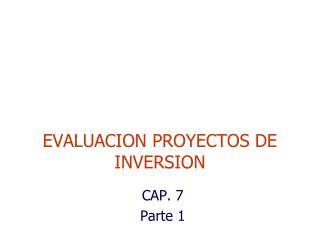EVALUACION PROYECTOS DE INVERSION