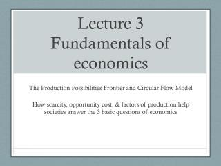 Lecture 3 Fundamentals of economics