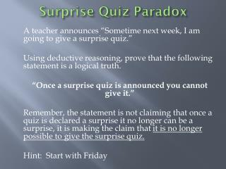Surprise Quiz Paradox