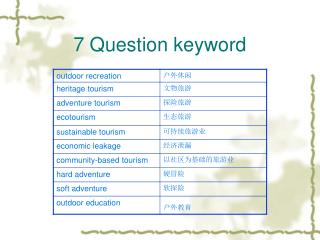 7 Question keyword
