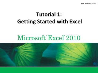 Tutorial 1:  Getting Started with Excel