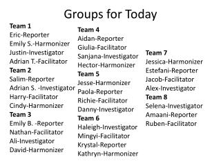 Groups for Today