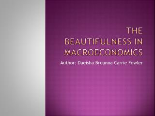 The beautifulness in Macroeconomics