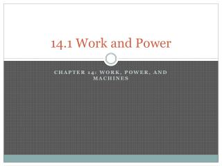14.1 Work and Power