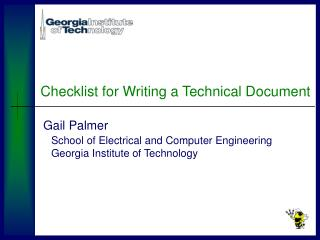 Checklist for Writing a Technical Document