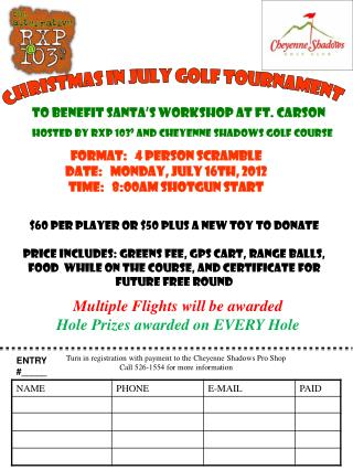 CHRISTMAS IN JULY GOLF TOURNAMENT