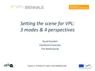 Setting the scene for  VPL: 3  modes  & 4  perspectives