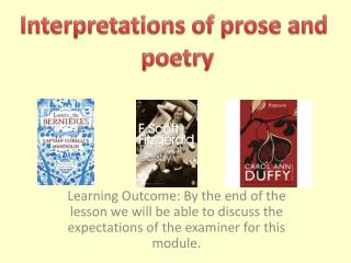 Interpretations of prose and  poetry