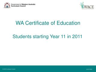 WA Certificate of Education