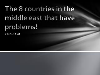 The 8 countries in the middle east that have problems!