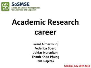 Academic Research career