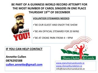 BE PART OF A GUINNESS WORLD RECORD ATTEMPT FOR THE MOST NUMBER OF CAROL SINGERS IN ONE PLACE