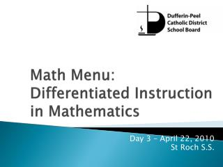Math Menu: Differentiated Instruction in Mathematics