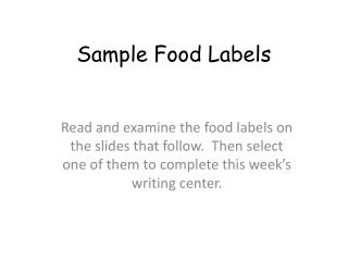 Sample Food Labels