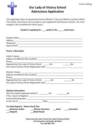 Our  Lady of Victory School     Admissions Application