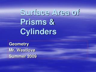 Surface Area of Prisms  Cylinders