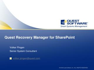 Quest Recovery  Manager for SharePoint