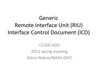 Generic Remote Interface Unit (RIU) Interface Control Document (ICD)