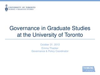 Governance in Graduate Studies at the University of Toronto