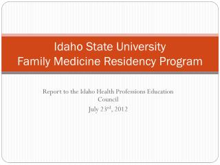 Idaho State University Family Medicine Residency Program