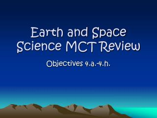 Earth and Space Science MCT Review