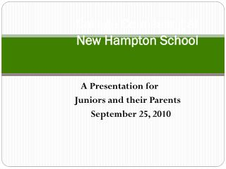 College Counseling at  New Hampton School