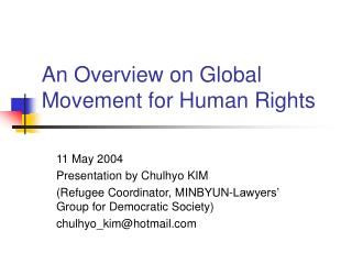 An Overview on Global Movement for Human Rights