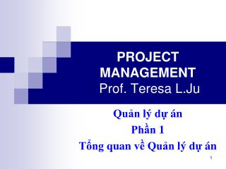 PROJECT MANAGEMENT  Prof. Teresa  L.Ju