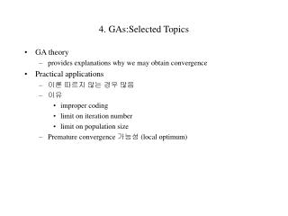 4. GAs:Selected Topics