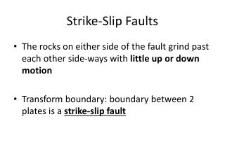 Strike-Slip Faults