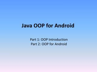 Java OOP for Android