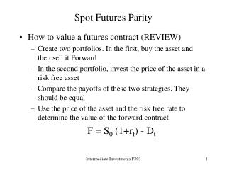 Spot Futures Parity