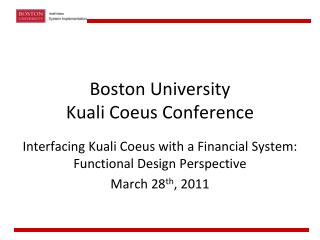Boston University Kuali Coeus  Conference
