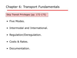 Chapter 6: Transport Fundamentals