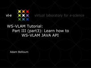 WS-VLAM Tutorial:      Part III (part3): Learn how to            WS-VLAM JAVA API