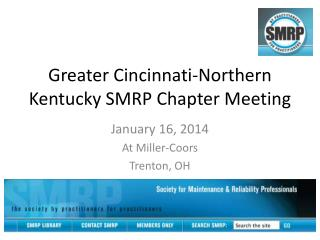 Greater Cincinnati-Northern Kentucky SMRP Chapter Meeting