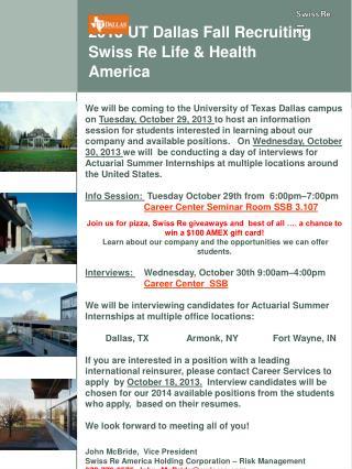 2013 UT Dallas Fall Recruiting Swiss Re Life & Health America