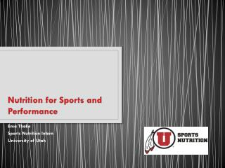 Nutrition for Sports and Performance
