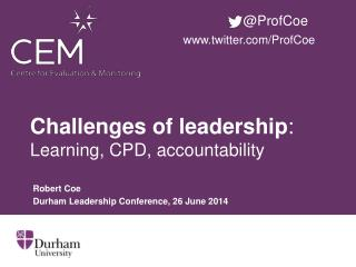 Challenges of leadership : Learning, CPD, accountability